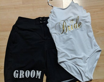 Bride and Groom Swimsuits - For Honeymoon, Bridal Showers, and More - Just Married - Beach Wedding