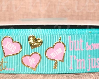 Sweetheart Gold Foil on Tropic 7/8 Grosgrain Ribbon With Holographic Gold Foil