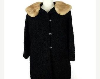 Winter Sale 40% Off Vintage Black Persian Lamb x Mink fur Collared Swing Coat from 1960's*