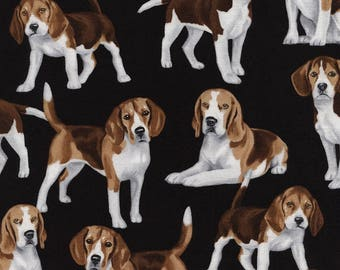 Beagles on Black Fabric / Beagle Fabric / Timeless Treasures c4890 /Dog Fabric / Fat Quarter and Yardage / bulldogs by the yard