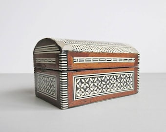 Small Rectangular Treasure Chest Style Wooden Box with Inlaid Marquetry and Mother of Pearl - Trinket Box