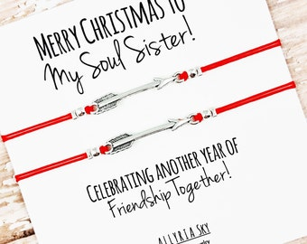 "Set of Two Friendship Bracelets with ""Merry Christmas to My Soul Sister"" Card 