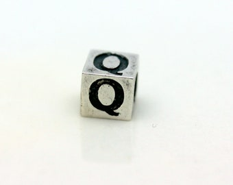 Sterling Silver Alphabet Q Block Cube Square Bead 4mm