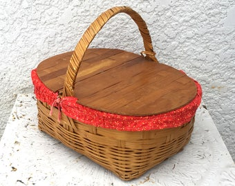 Wooden Picnic Basket with Double-Hinged Woven Wood Lid, Red Bandana Lining