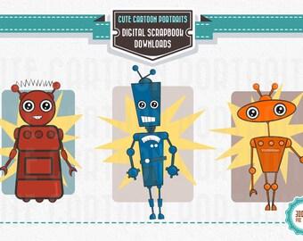 Instant Download - Retro Robots - Cute Digital Clip Art Collage Sheet