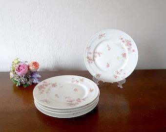 5 Haviland Limoges Salad Plates Vintage French Limoges porcelain Pink rose plates Haviland & Haviland Limoges China Plates H and C Haviland Limoges Hand