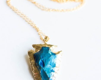 Arrowhead Necklace,Arrowhead,Titanium Arrowhead Necklace,Mystic Blue,Blue Stone,Gold Necklace,Gold Arrowhead,Jasper Arrowhead Necklace,OOAK
