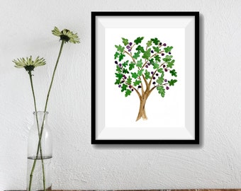 Fig Tree art print, watercolor print fig tree, Folk art inspired, green, purple, Mediterranean art, mountain of spices, fig tree art