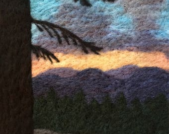 High Sierra Sunset - Original Felted Wool Art of Landscape from California's Sierra Nevada Mountains on Pacific Crest Trail
