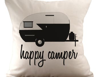 Glücklicher Camper - Kissenbezug - 18 x 18 - wählen Sie Ihren Stoff und Schriftart Farbe