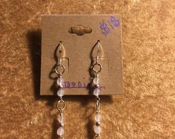 Sterling Silver, White Jade and Kyanite Earrings
