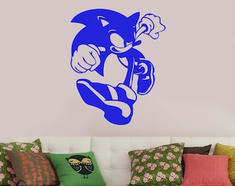 Sonic The Hedgehog Wall Sticker Vinyl Decal Comic Book Art Decorations for Home Kids Boys Room Playroom Bedroom Video Game Decor snc3