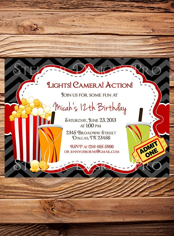 Zebra Movie Night Birthday Party Invitation Chevron Stripes