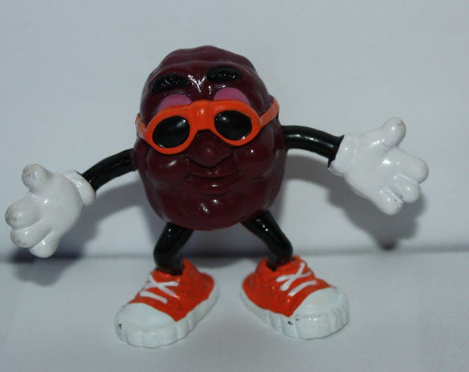 "California Raisins 2.5"" Orange Shoes & Glasses Arms Outstretched PVC Figure Calrab 1987"