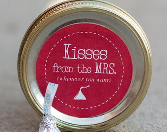Printable mason jar label PDF - Valentine's Day gift | Hershey's kisses gift | Instant Download | Anniversary gift | Bridesmaid gift