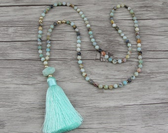 Gemstone bead necklace Bead tassel necklace Amazonite bead necklace Blue bead necklace Long necklace natural stone Necklace Jewelry NL-003