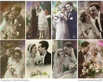 EVERYDAY People WEDDED BLISS Vintage Postcards - Instant Download Digital Collage Sheet