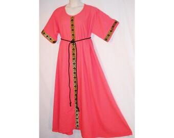 Sz XL Medieval Linen/Rayon Dress Gown w/ Jacquard Trim SCA LARP