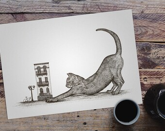Hand Drawn Fantasy Surreal Illustration | Cat Art Print | Wall Decor | Pen Ink Sketch