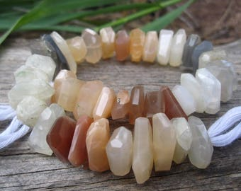 Organic Nuggets of Multi Moonstone Peach Gray Gold - 8 inches - 12mm X 5mm
