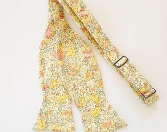 Yellow Bowtie, Liberty of London Tie, Yellow Floral Tie, skinny tie, yellow men's tie, yellow floral tie, custom yellow tie, groomsmen ties