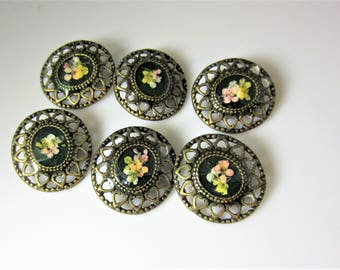 Buttons  (6) with Real Flowers, Pressed Flower Buttons for Sewing, Brass, Resin, Real Flowers (3040)