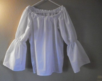 Womens Xs, S, or M, ) White Bell Flared Long Sleeve Renaissance Faire Chemise Blouse