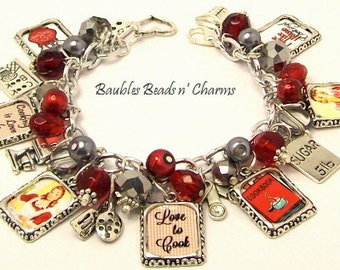 Cooking Themed Charm Bracelet Jewelry, Love to Cook Picture Charm Bracelet, Baking Charm Bracelet