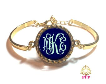Navy Monogram Bangle Bracelet | Personalized Bracelet | Custom Bracelet | Style 645