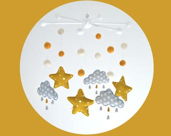 Mobile cloud rain and stars - grey, white and mustard yellow wooden beads, fabric and cotton organic