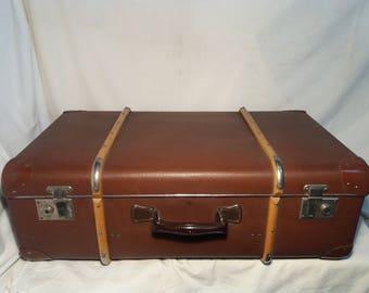 Vintage Brown Cardboard & Wood Suitcase - Large Size