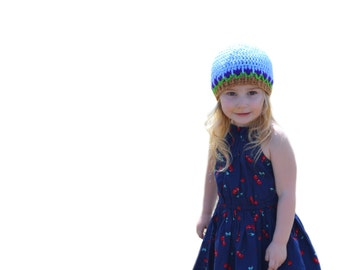 Girls Blue Sky Tulip Hat Toddler Beanie Flower Cap Newborn to Adult Crochet Hat Girls Blue Beanie Newborn Hospital Spring Flower Photo Prop