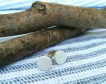 White wood earrings - solid silver studs - wooden earrings - boho jewelry - bridal earrings - bridesmaid gift - beach bride - bridal shower