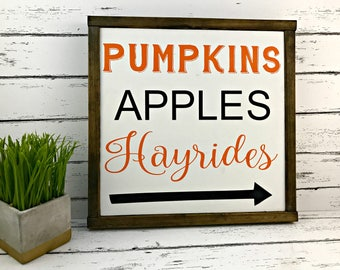Pumpkins Apples Hayrides - Fall Sign - Fall Decor - Autumn Sign - Thanksgiving Sign - Pumpkins - Fall Wood Sign