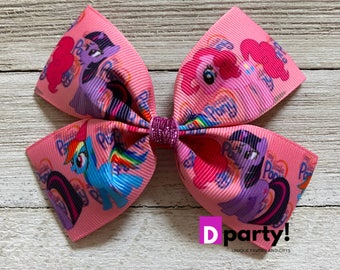 My Little Pony Inspired Hair Bow, Pinky Pie Bow, Pink Pony Hair Bow