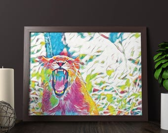 Puma Art Print Wall Art Poster Home Print Instant Download Printable Wall Art Downloadable Prints A1 A2 Poster Size Wall Decor
