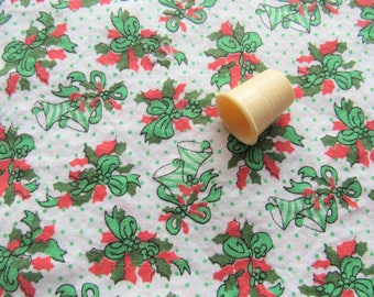 bells and holly christmas print cotton fabric -- 42 wide by 15 inches
