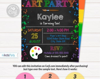 Art Party Invitation - Art Invitation - Art Birthday Party - Painting Party - Pink - INSTANT ACCESS - Edit with Corjl.com in your browser
