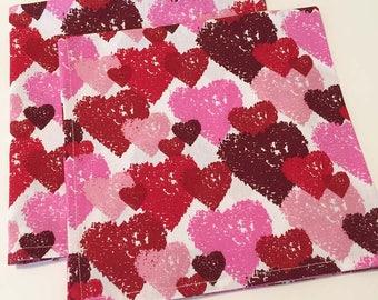Valentine Napkins, Cloth Valentine Napkins, Heart Dinner Napkins