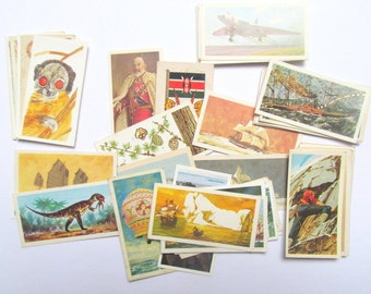 Mixed pack of vintage tea cards: 50 lucky dip pack of collector cards. Ephemera for craft, scrapbook, collage, art. OT562