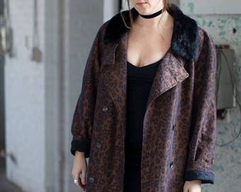 LEOPARD Print Dark Brown Vintage TRENCH COAT Faux Fur Lined 90s Womens Size L