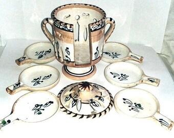 Vintage Handmade Ceramic Spoon Rests -With Storage Jar