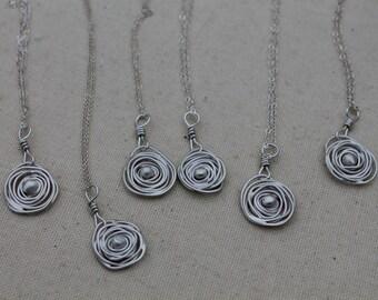 Nest Sterling Silver Necklace, Birds Nest Pendant on Chain. Nest Necklace handmade. Custom Nest Necklace.
