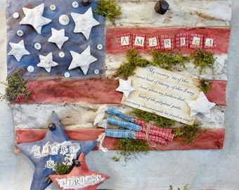 American patriotic Stars Stripes Flag pattern PDF -  vintage like primitive firecracker
