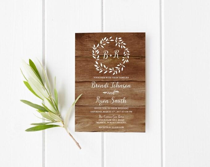 Rustic Wedding Invitation, Boho Wreath Printable Wedding Invitation, Bohemian Wood White Wedding Invite, Printed Wedding Invitations