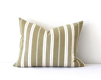 Pillow Vintage Ticking Pillow Olive Green Brown White Stripes Vintage Fabric Rustic French Country Home