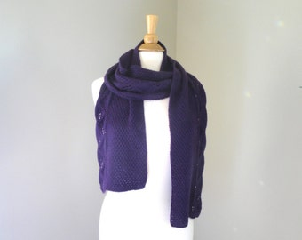 Dark Purple Scarf, Leaf Lace Design, Pure Cashmere, Hand Knit Scarf, Long Wide Scarf, Luxury Natural Fiber, Luxurious Scarf