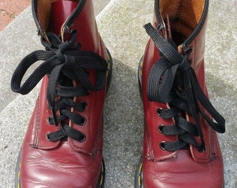 Vintage Cherry Red Doc Martens 8-Eye Combat Boots Made in England Women's US 7 UK 5 Grunge Punk Dr