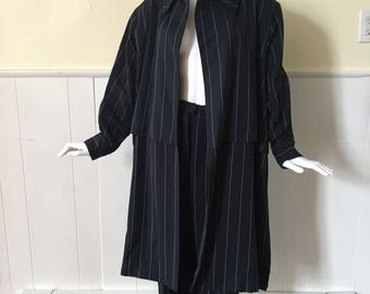 CHRISTIAN DIOR navy pinstripe trench suit..wool..made in france