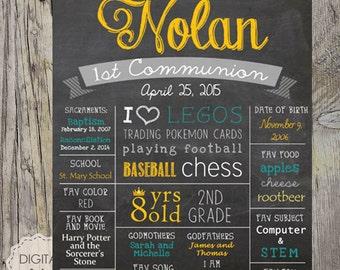 First communion chalkboard sign - Baptism 1st communion poster - DIGITAL sign! - Boy 1st communion sign